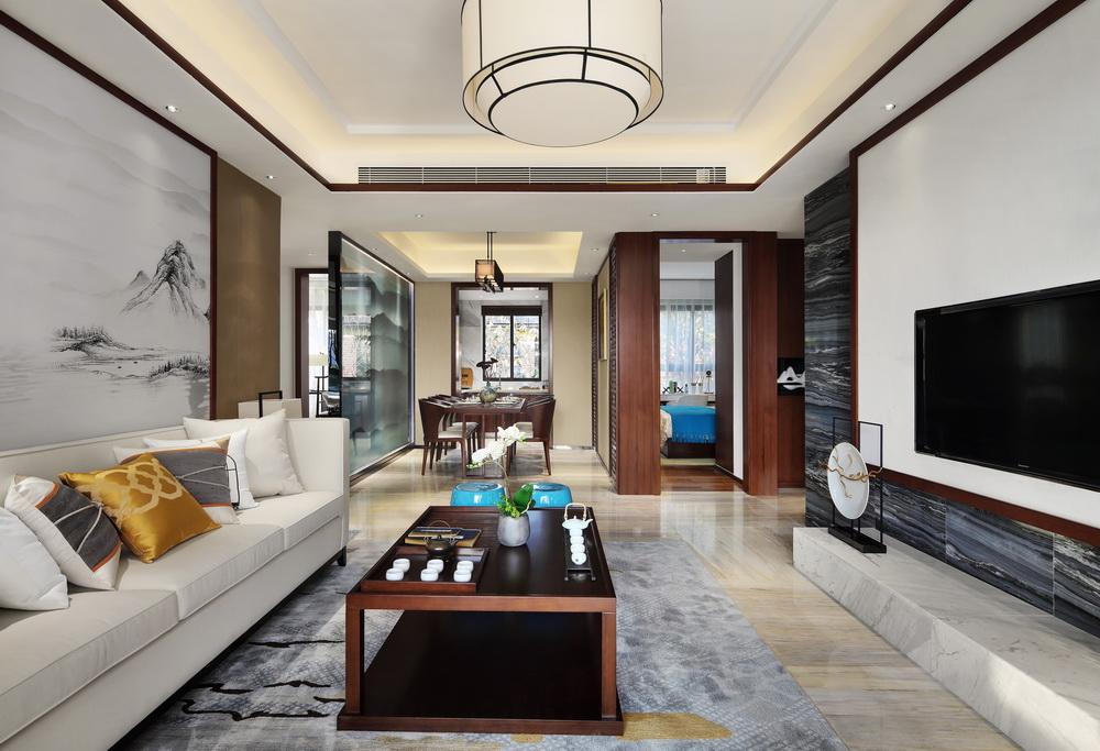 120平米新中式风格客厅装修效果图