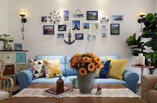 90平米地中海风格沙发背景墙装修效果图