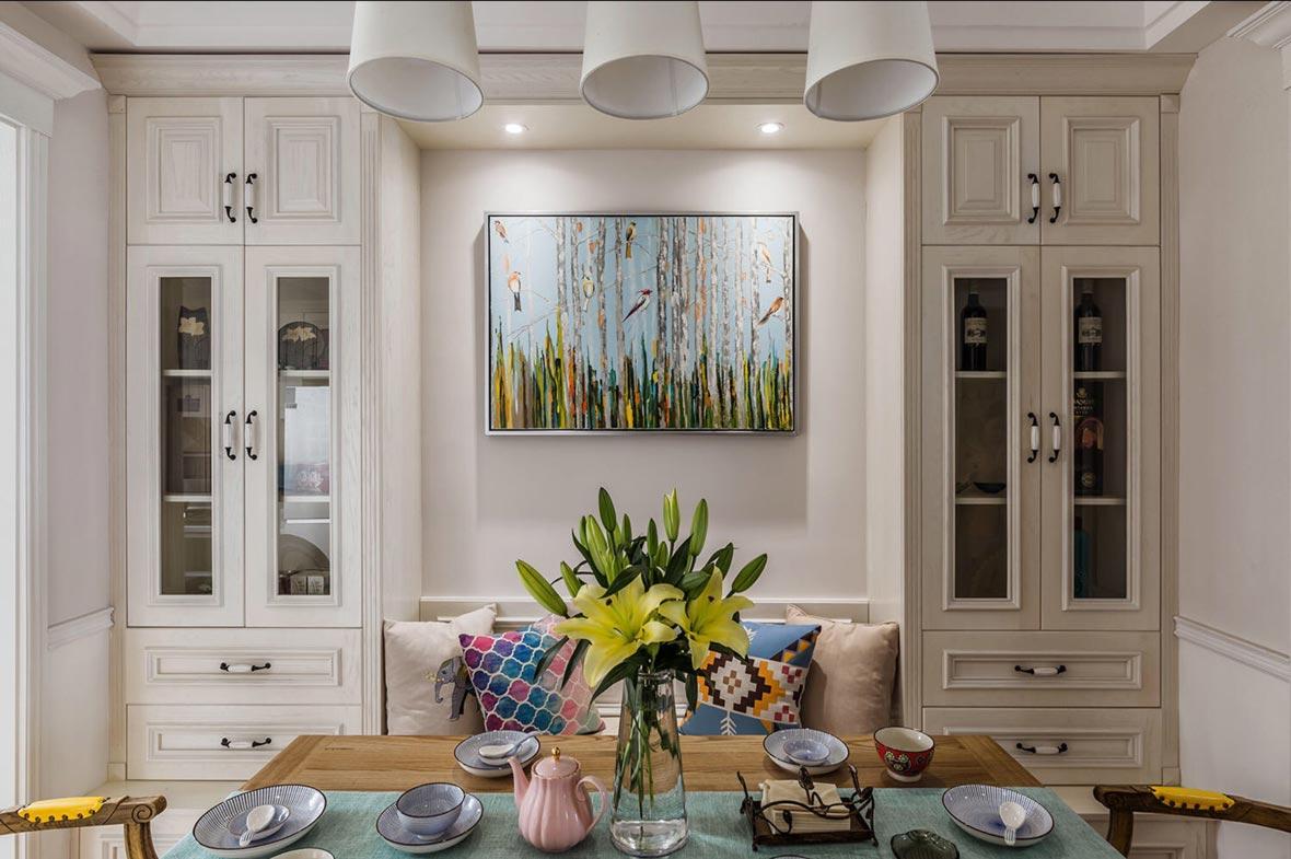 美式风格三居餐厅背景墙装修设计效果图