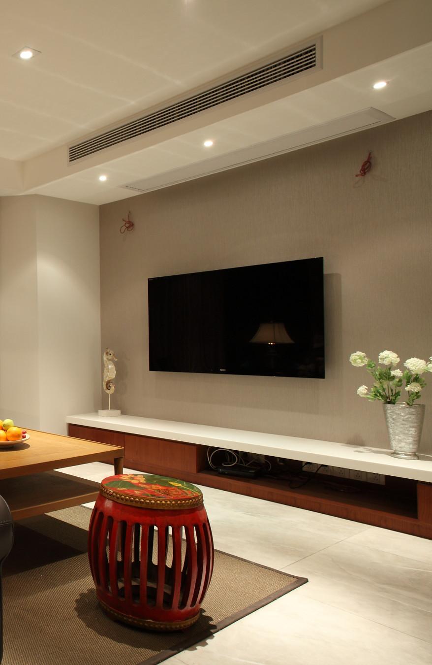 130㎡简约中式三居电视背景墙装修效果图