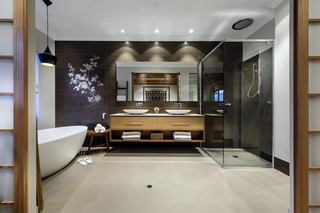 中式现代混搭别墅卫生间装修效果图