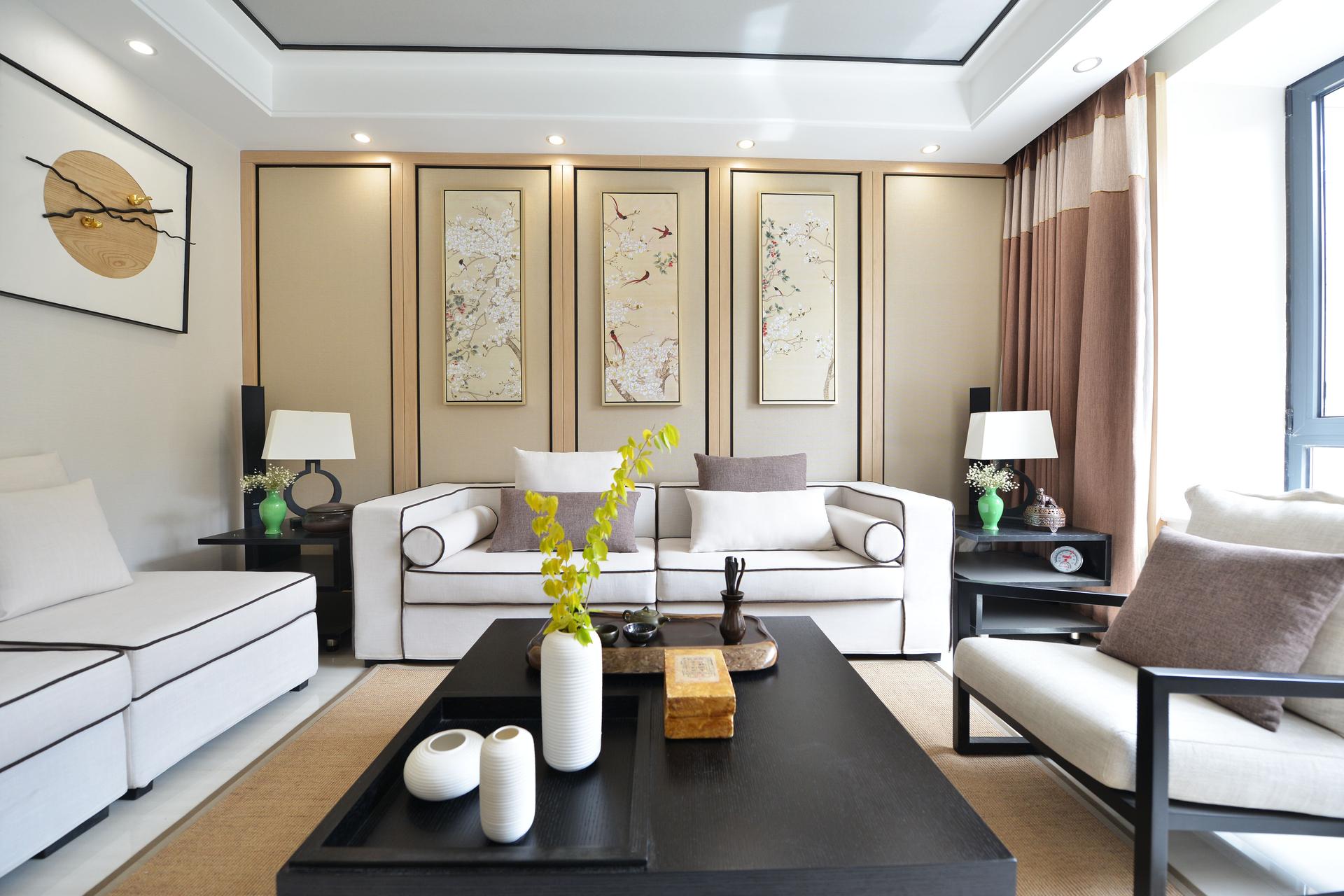 120平米新中式沙发背景墙装修效果图