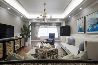 180平美式风格客厅装修效果图