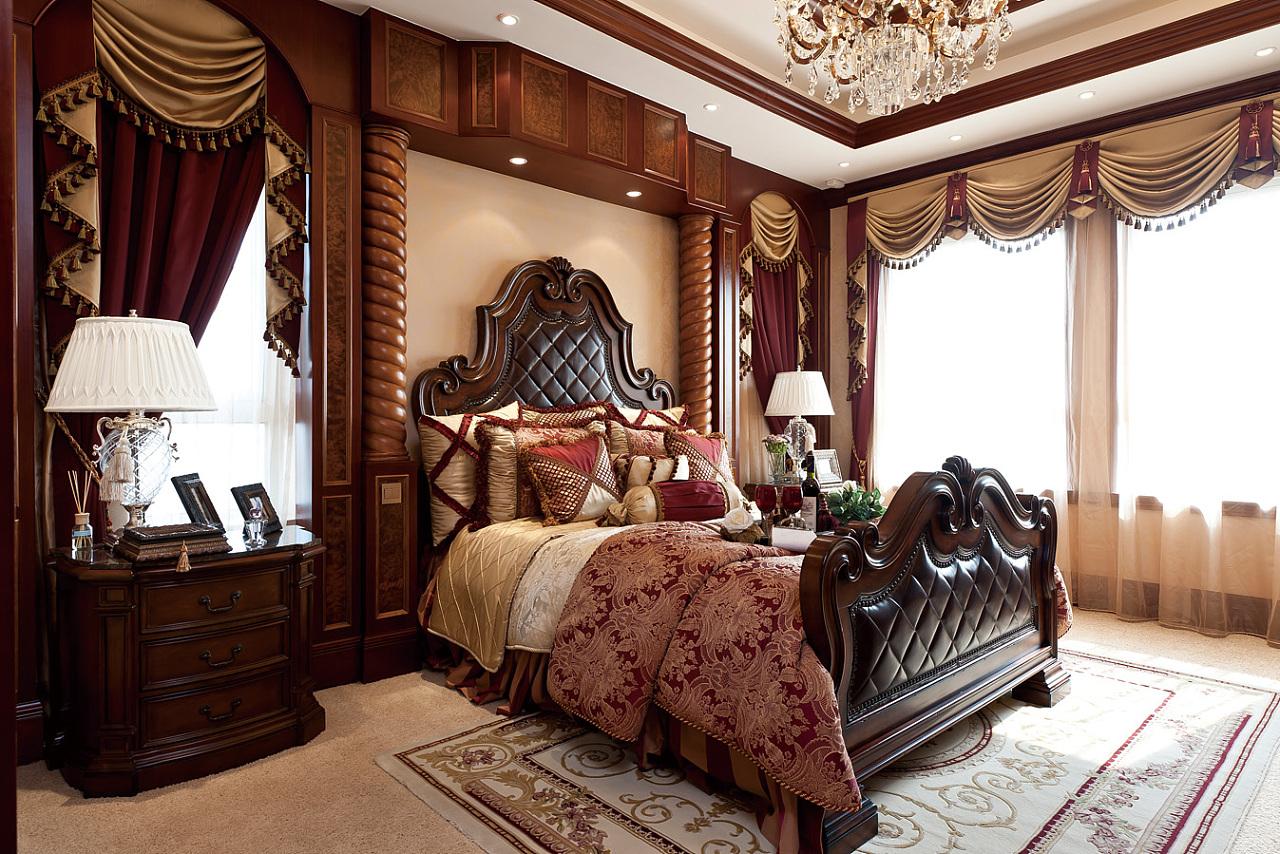 豪华欧美风情别墅卧室装修效果图