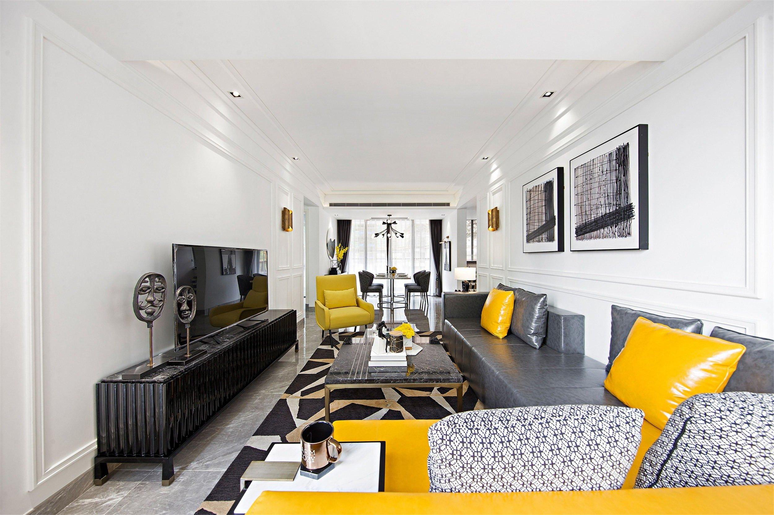 时尚摩登样板房客厅装修效果图