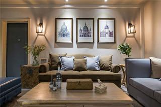 100㎡三居室混搭风沙发背景墙装修效果图