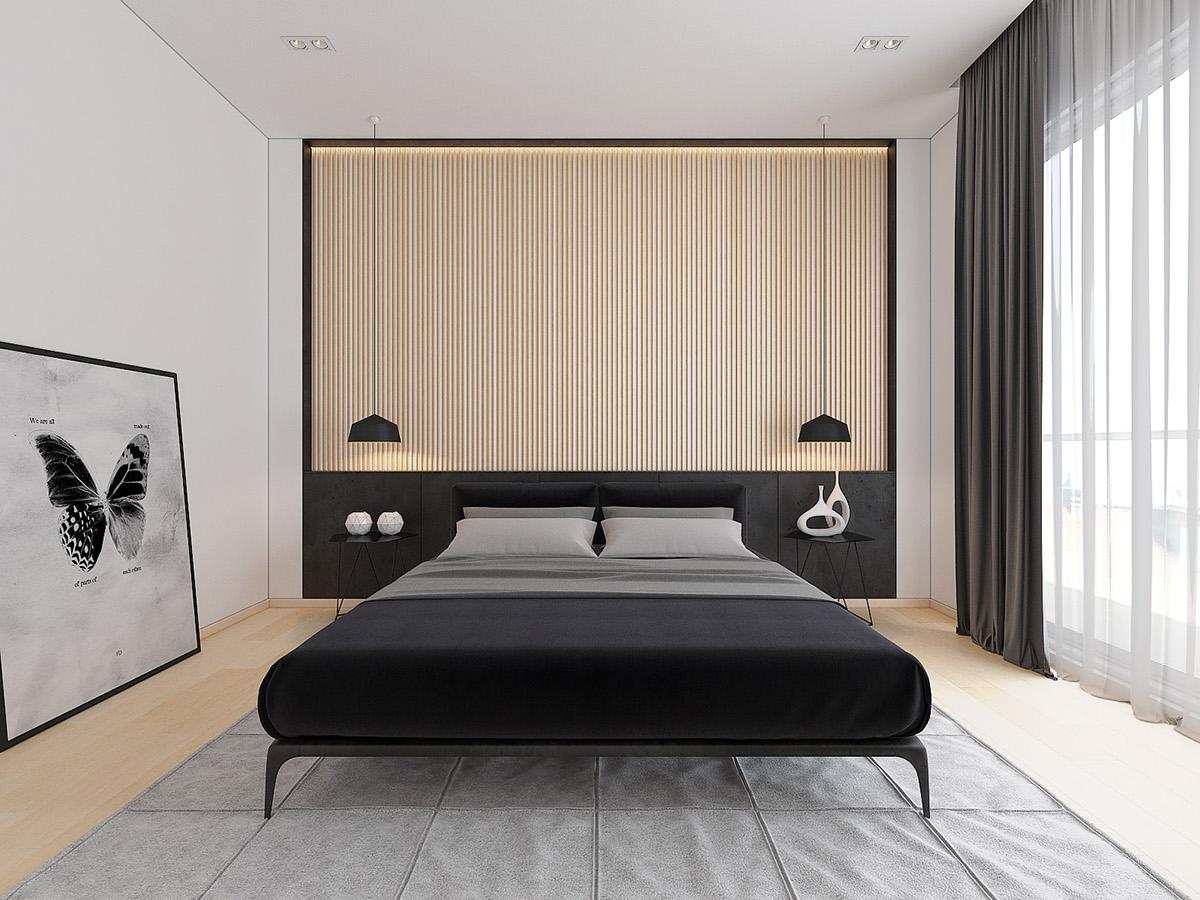 大户型简约风格卧室背景墙装修效果图