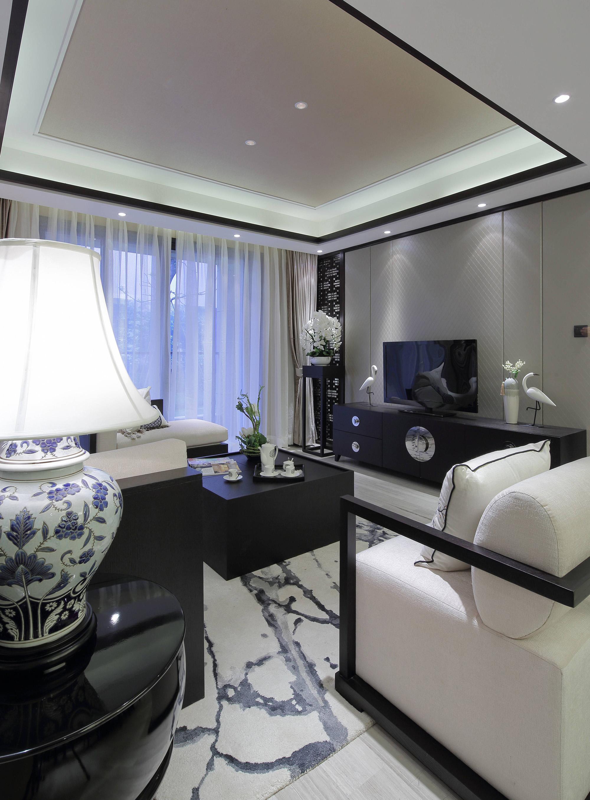 新中式风格样板房客厅装修效果图