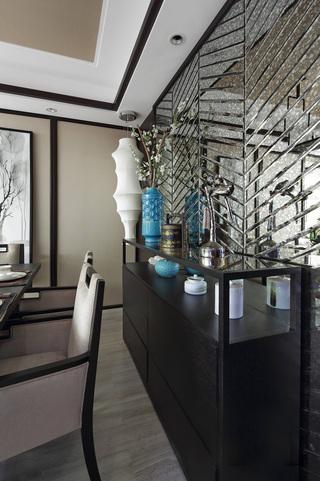 新中式风格样板房装修黑色餐边柜设计图