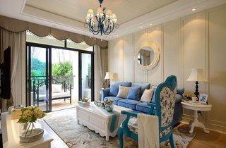 三居室地中海风格沙发背景墙装修效果图