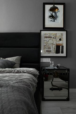 高级灰现代风两居装修床头柜设计图