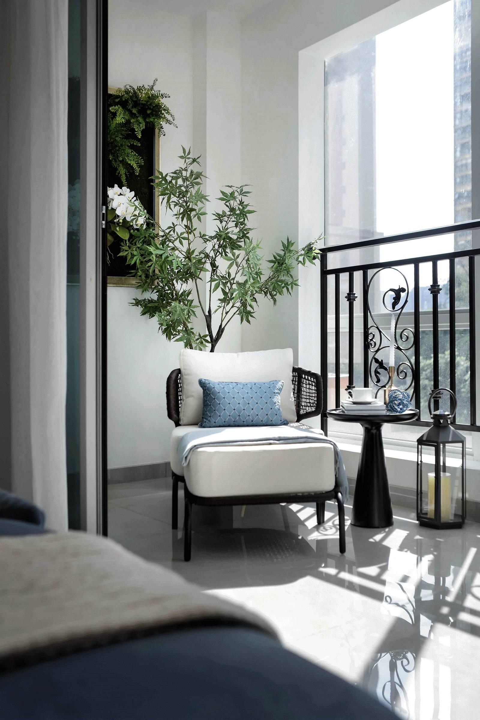 大户型轻奢样板间房阳台装修效果图