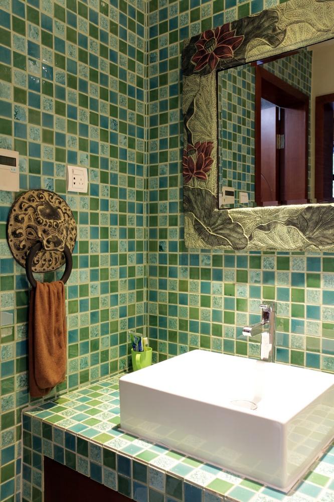 中式风格别墅洗手台装修效果图