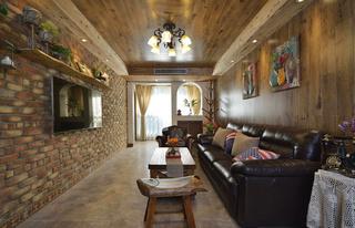 美式乡村风格二居室客厅装修效果图