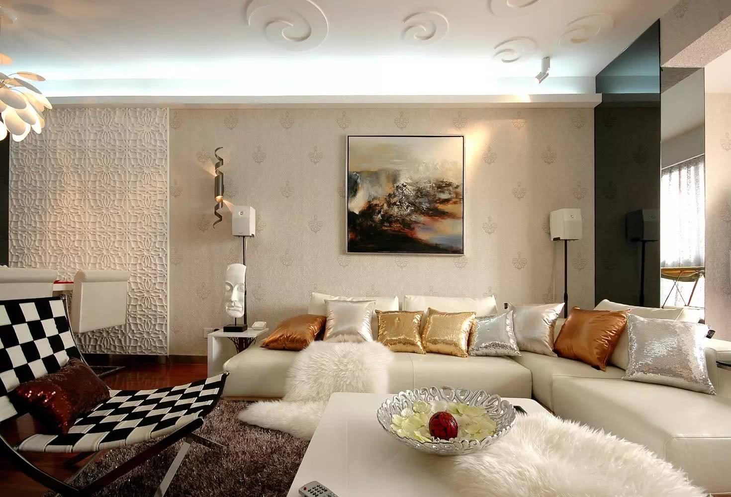105平现代风格沙发背景墙装修效果图