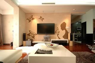 105平现代风格电视背景墙装修效果图