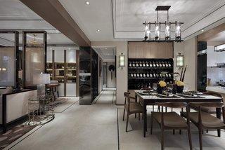 140㎡新中式样板间客餐厅过道装修效果图