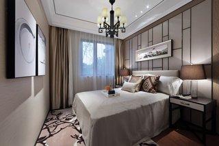 140㎡新中式样板间卧室装修效果图