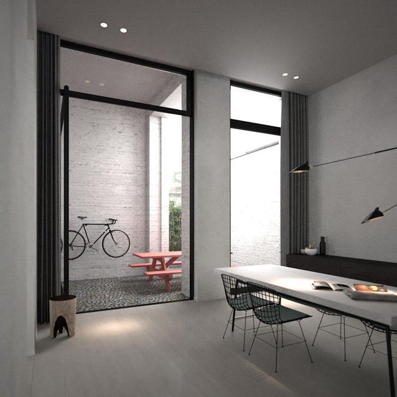 灰色极简风格餐厅装修效果图