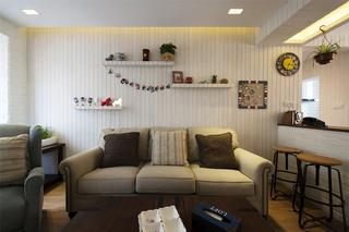 75平混搭风格沙发背景墙装修效果图