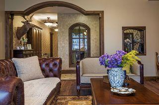 150平复古美式风格装修沙发布置图
