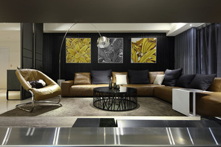 150㎡现代混搭三居沙发背景墙装修效果图