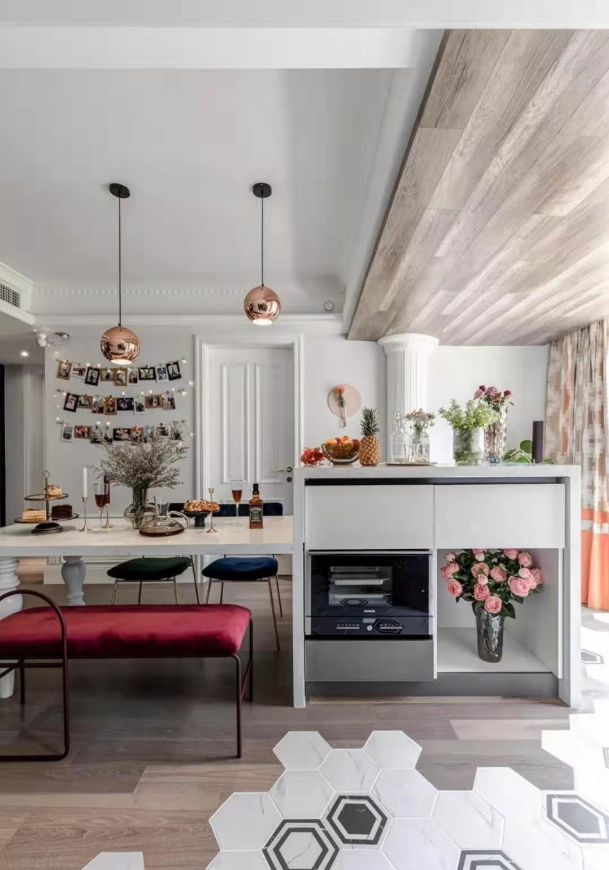 室外地面铺装效果图_15万124平米现代三房装修效果图,124㎡现代法式混搭三居装修案例 ...