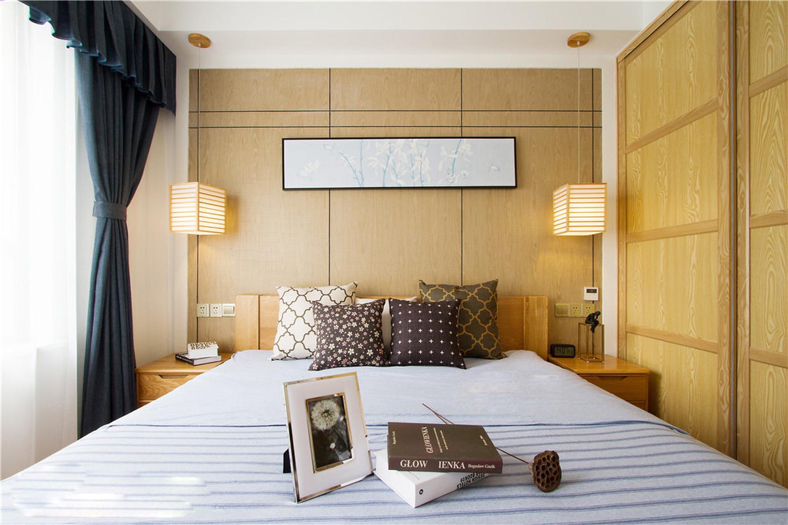 105平日式风格卧室背景墙装修效果图