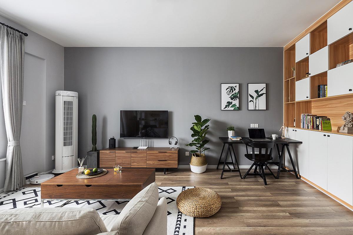 北欧风格二居电视背景墙装修效果图