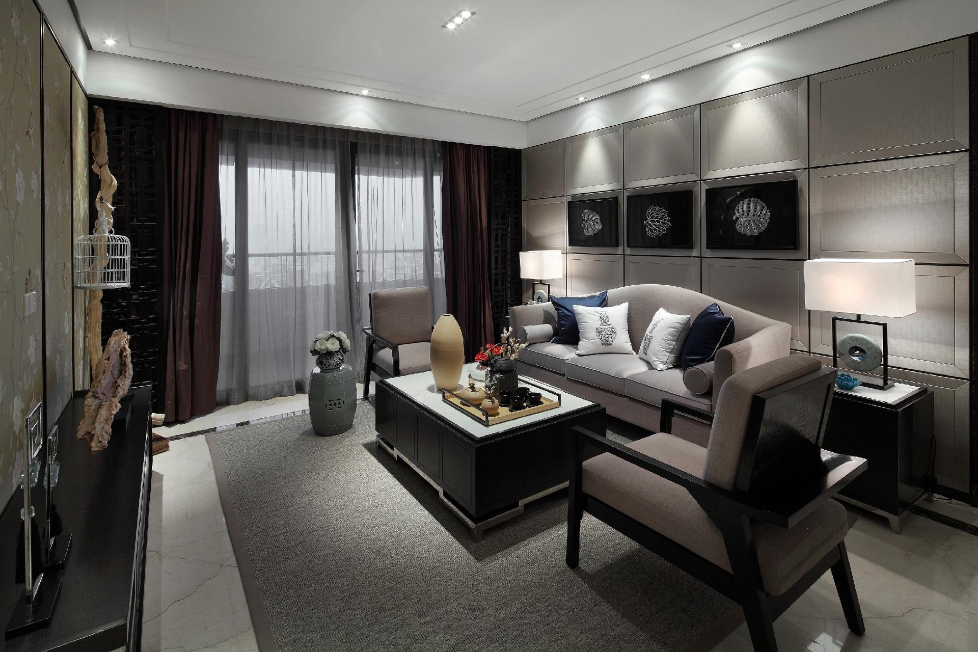 120平现代中式客厅装修效果图