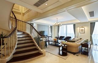 大户型复式现代美式楼梯装修效果图