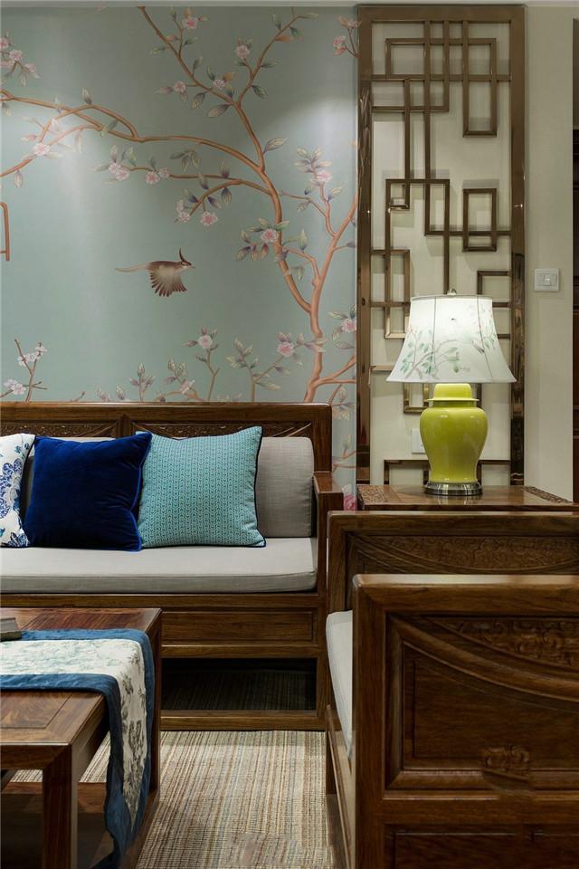 120㎡新中式风格沙发背景墙装修效果图