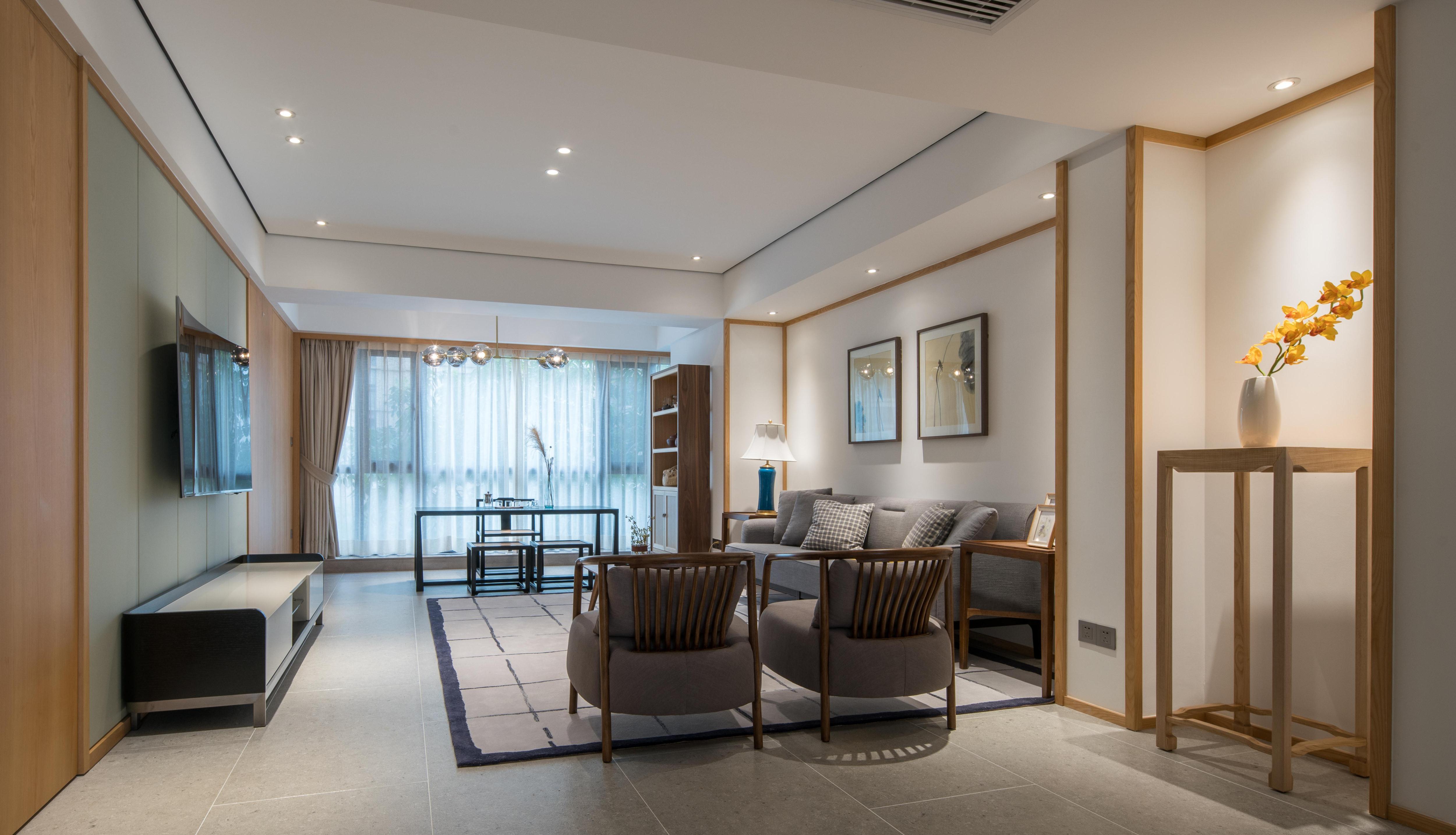 140㎡现代中式客厅装修效果图