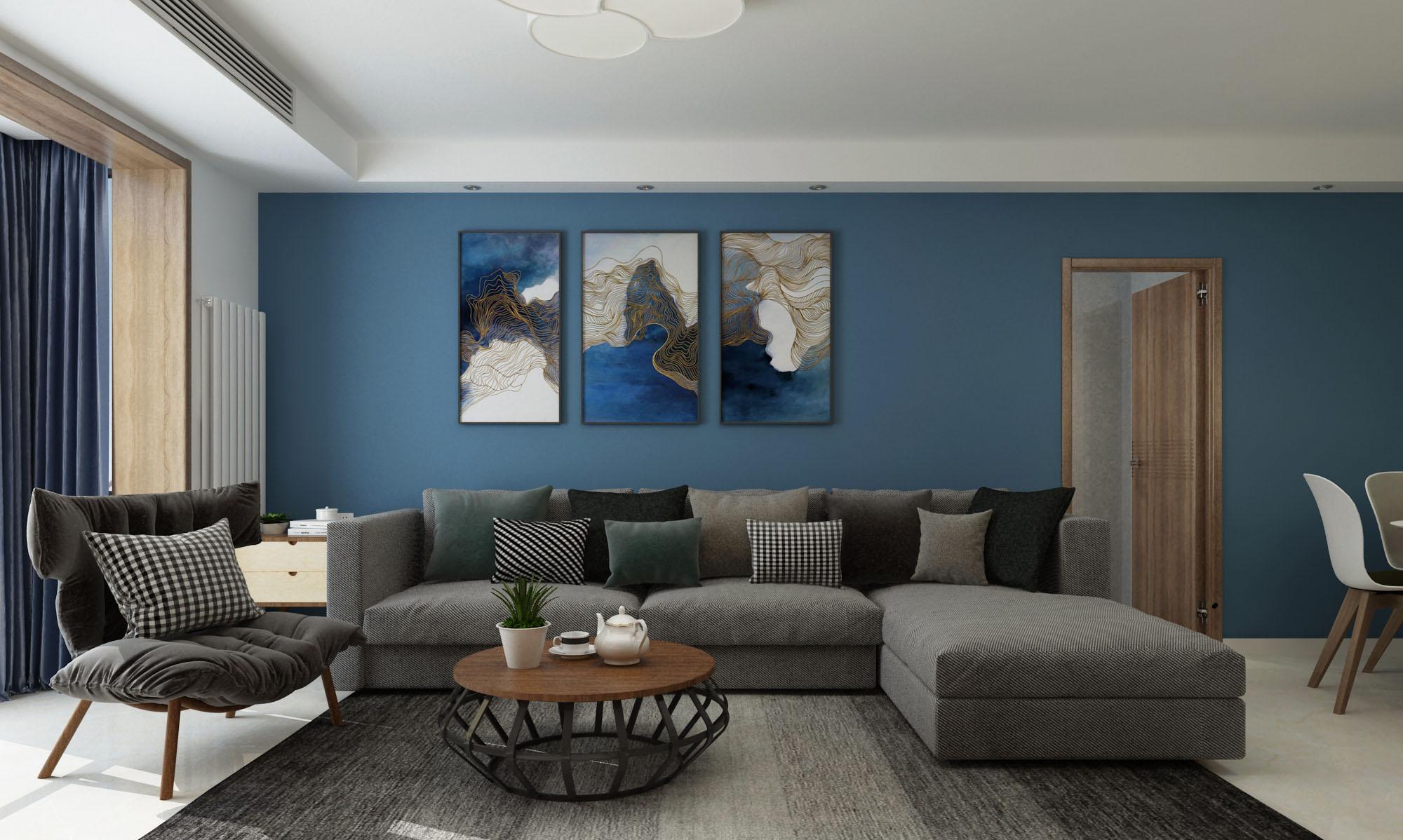 120平现代简约三居沙发背景墙装修效果图
