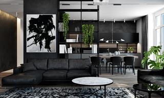 黑色系现代公寓客厅装修效果图