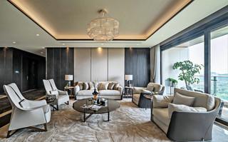 现代轻奢别墅客厅装修效果图