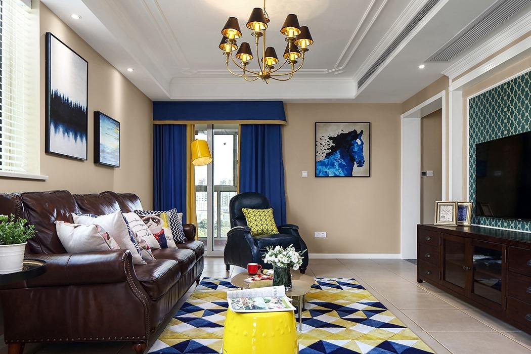 146㎡美式风格客厅装修效果图