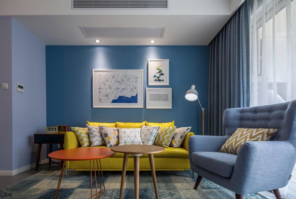 三居室现代北欧风沙发背景墙装修效果图