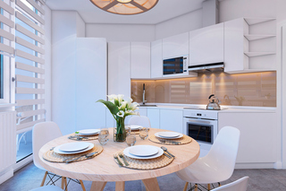 小户型简约风格公寓厨餐厅装修效果图
