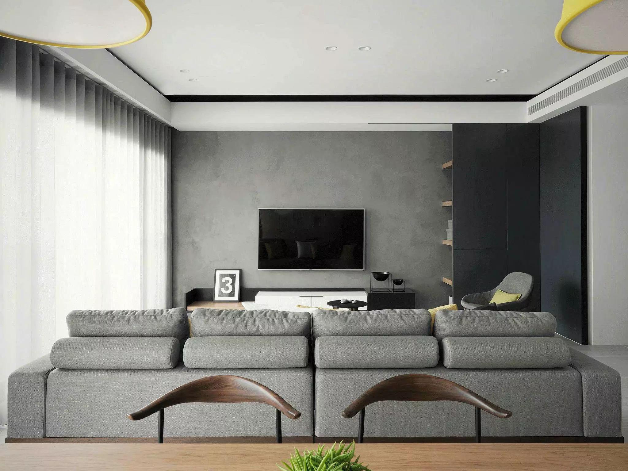 简约现代风客厅电视墙装修效果图
