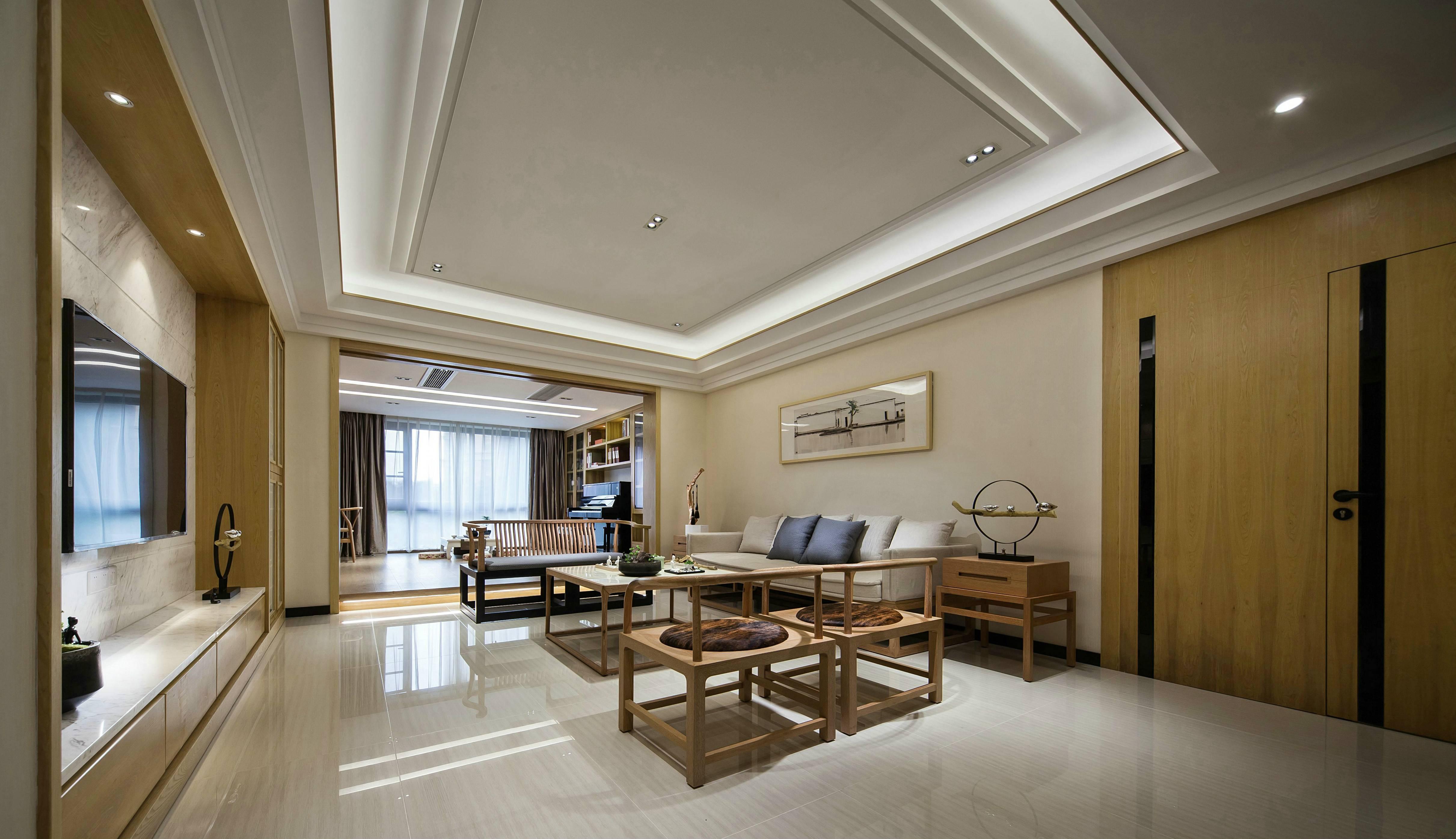 大户型新中式客厅吊顶装修效果图