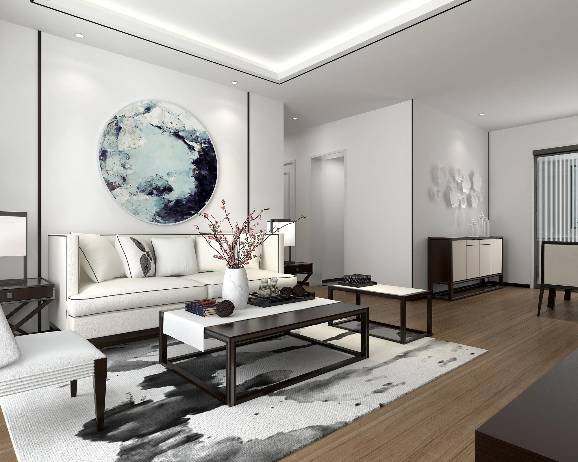 90平新中式客厅装修效果图