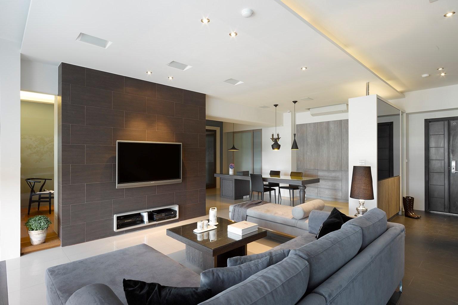 现代简约两居客厅电视墙装修效果图