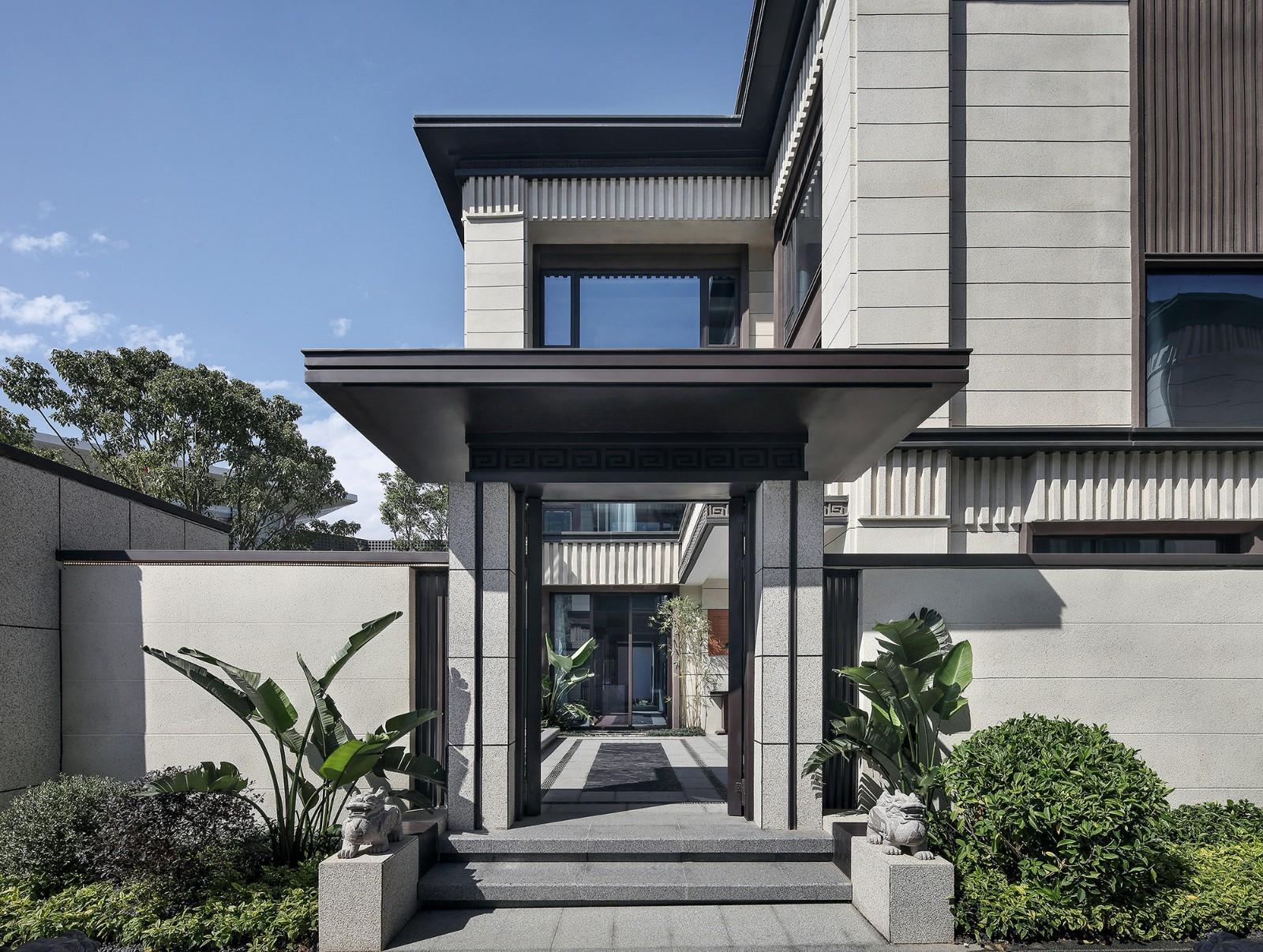 新中式别墅入户大门装修效果图