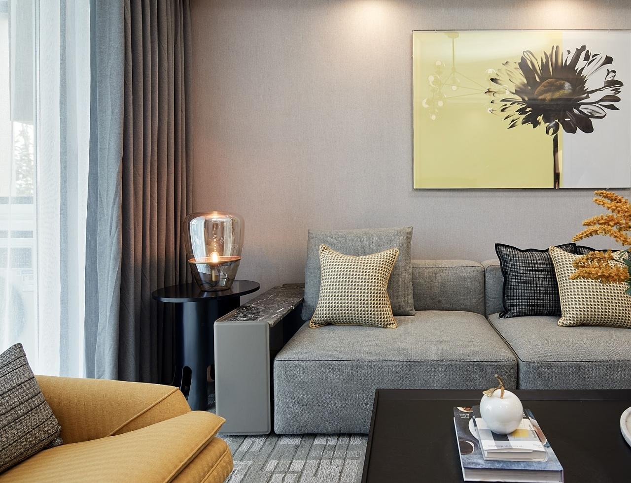 80㎡现代简约沙发墙装修效果图