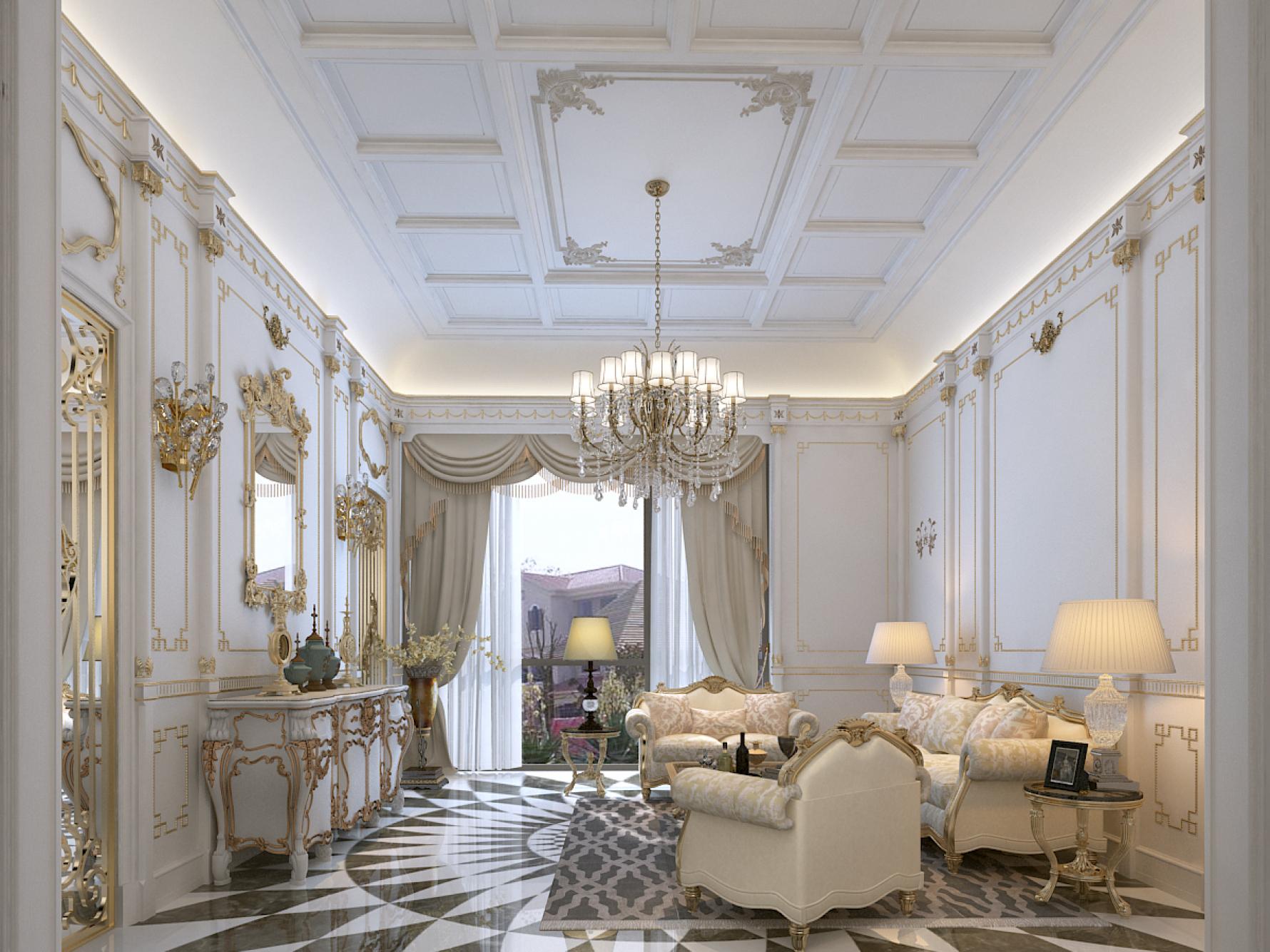 奢华法式别墅客厅装修效果图