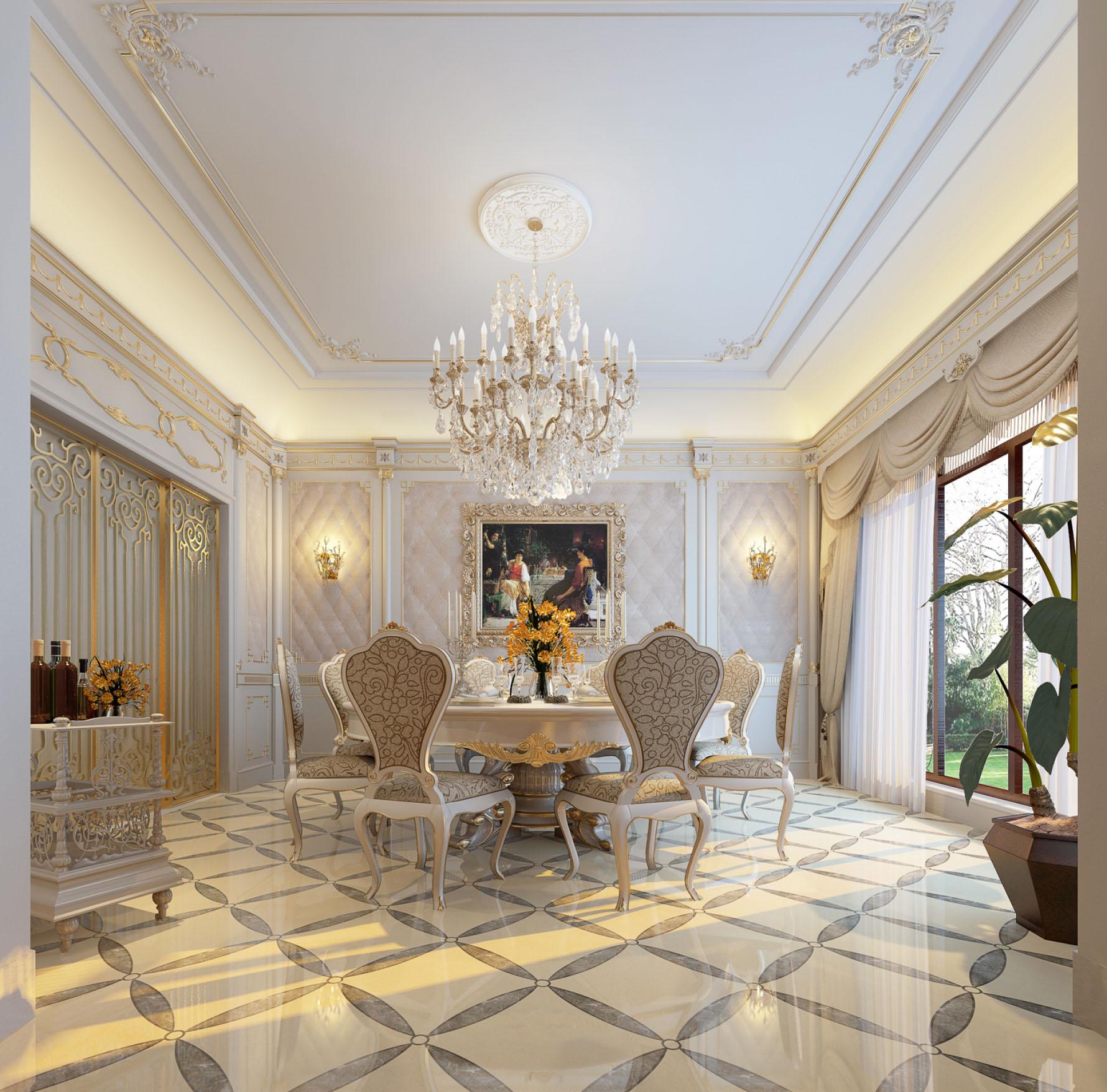 奢华法式别墅餐厅装修效果图