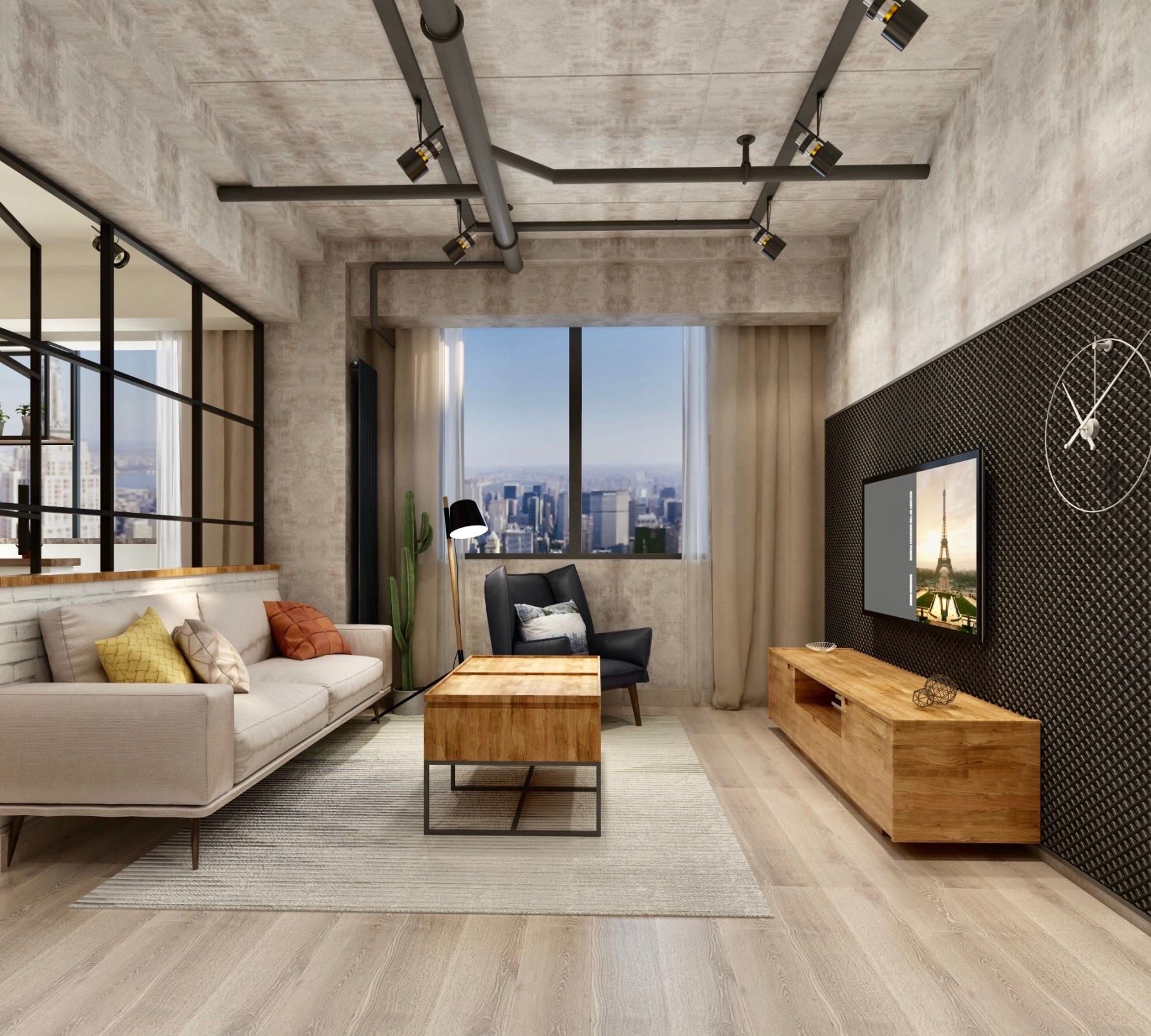 工业风格两居装修效果图