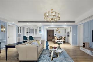 美式轻奢三居室客厅装修效果图