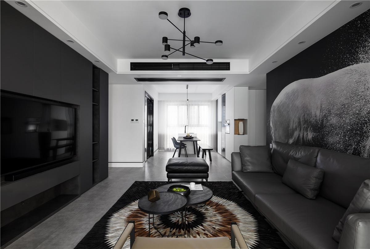 130m²现代简约客厅装修效果图